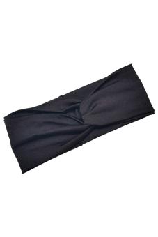 Amango Women's Headband Cotton Turban Twist Knot (Black)