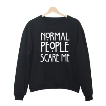 Amart Fashion Women Hoodies Pullover Tops O Neck Long Sleeve Cotton Letter Printed Pattern Sweatshirt Tops (Color 10,Black) - intl