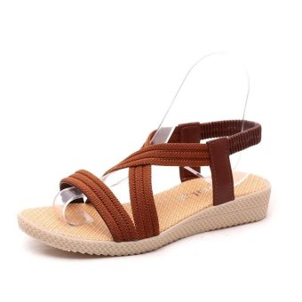 Amart Fashion Women Sandals Crossed Comfortable Beach Flat Shoes(Drown) - intl - 2