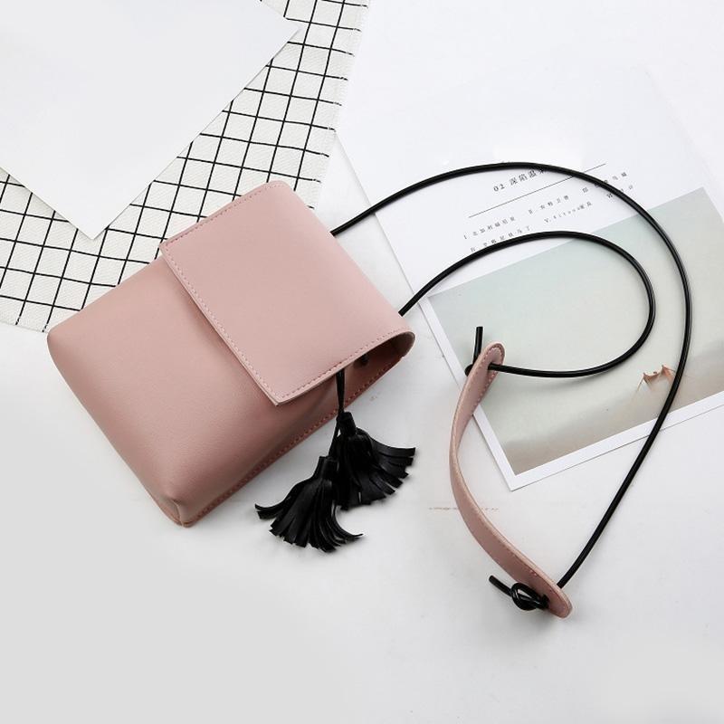 Amart Korean Fashion Mini Women Small Shoulder Bag with TasselMessenger Crossbody Bag PU Leather Cell Phone Coin Bags - intl