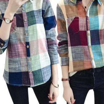Amart New Fashion Women Plaid Blouse Casual Long Sleeve Cotton Linen Slim Fit Tops(Blue) - intl - 3