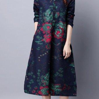 Amart Retro Women Loose Cotton Dresses Long Sleeve Flower Printed Dress Ethnic Dresses - intl - 4