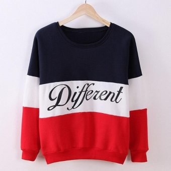 Amart Women Long Sleeve O-neck Tops Pullover Tops Sweatshirt Hoodies Patchwork Fleece Tracksuits Tops(Blue+Red) - intl