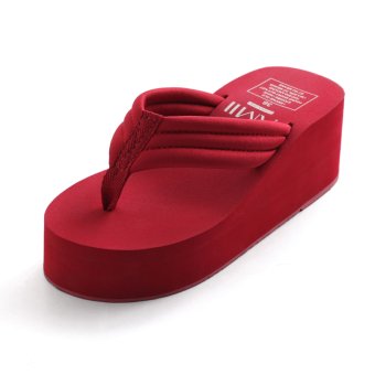 Amii outerwear thick bottomed muffin sandals flip-flops (Red (solid color))