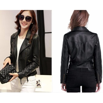 AngelCityMall Women PU Leather Coat Motor Jacket Short Coat StandCollar Slim S-3XL (Black) - intl - 3