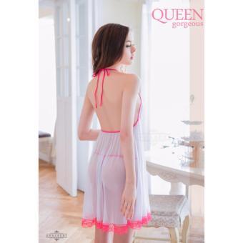 Annabery Lingerie Elegant Sleepwear Plus Size Sweet White and Pink - 2