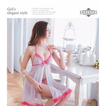 Annabery Lingerie Elegant Sleepwear Plus Size Sweet White and Pink - 4