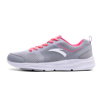 ANTA versatile female genuine breathable running shoes women's shoes sports shoes (Fog gray/flourescent energy powder/ANTA white)