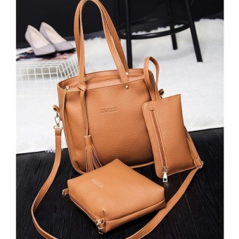 A+OB 3 Pcs Lady Womens PU Leather Tote Shoulder Bags Handbag PurseSet (Brown) - intl - 2