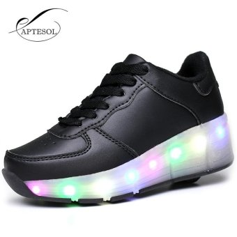 APTESOL Child Girls/Boys LED Light Roller Skate Shoes Pulley ShoesAutomatic Pulley Sneakers With Single Wheels(Black)