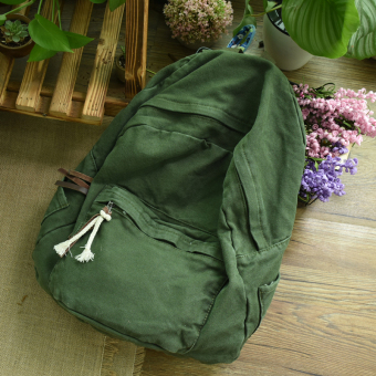 Artistic large capacity washed canvas backpack (Dark green color)