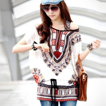 Astar Women Casual Round Neck Blouse Loose Print Batwing Sleeve Tunic Blouse Tops ( White ) - intl