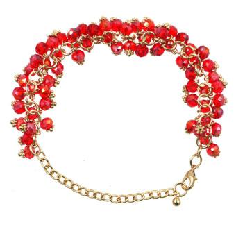 Athena Glimmer Crystal Beads Bracelet (Red)