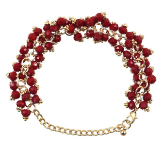 Athena Ruby Glimmer Crystal Beads Bracelet (Red)