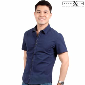 Attraxion Laurence Floral Placket Polo for Men (Navy Blue)