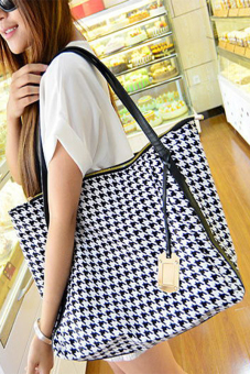 Aukey Canvas Houndstooth Messenger Tote Satchel Crossbody Handbags