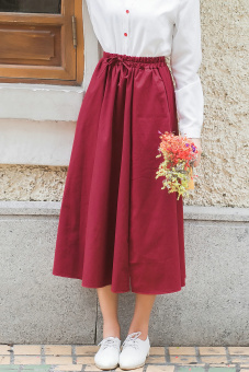 Autumn and Winter artistic high-waisted slimming with pockets A-line dress shrimps (Wine red color)
