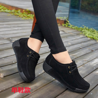 Autumn and Winter casual Plus velvet cotton-padded shoes thick bottomed shoes (Black lace shoes Models)
