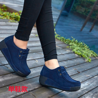 Autumn and Winter casual Plus velvet cotton-padded shoes thick bottomed shoes (Blue Lace shoes Models)