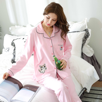 Autumn and Winter cotton female long-sleeved cotton cardigan tracksuit pajamas (Lovely kitten women's)