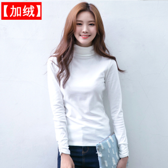 Autumn and Winter Korean-style cotton thick high collar long-sleeved shirt bottoming (White [Plus velvet])