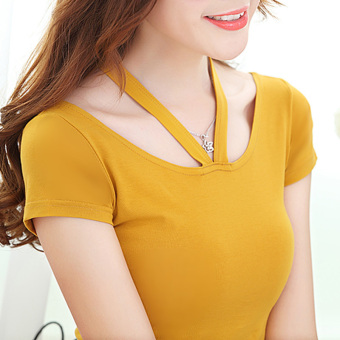 Autumn and Winter Korean-style Slim fit slimming Plus-sized Top T-shirt (Yellowish brown short sleeved)