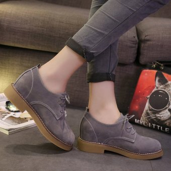 Autumn Literature Scrub British Style Tie Leather Shoes for RetroStudents(Grey) - intl Price Philippines