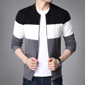 Autumn new men's long-sleeved sweater (On the black)