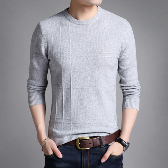Autumn New style round neck men's T-shirt (Gray)