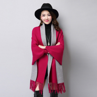 Autumn New style tassled Cape shawl knit cardigan (FXD9888 purplish red)