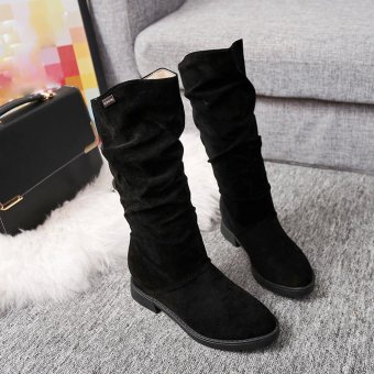 Autumn Winter Boots Women Sweet Boot Stylish Flat Flock Shoes Snow Boots - intl - 3