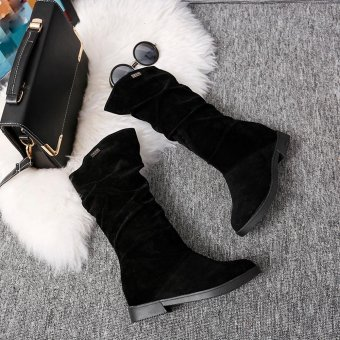 Autumn Winter Boots Women Sweet Boot Stylish Flat Flock Shoes Snow Boots - intl - 2