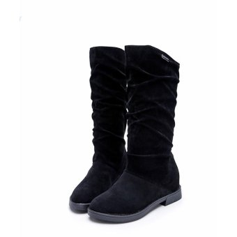 Autumn Winter Boots Women Sweet Boot Stylish Flat Flock Shoes SnowBoots - intl
