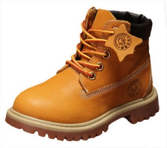 Autumn Winter Children's Shoes Korean Style Leather Snow Boots WarmMartin Boots For Kids/Girls/Boys (Yellow) - 5