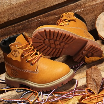Autumn Winter Children's Shoes Korean Style Leather Snow Boots WarmMartin Boots For Kids/Girls/Boys (Yellow) - 3