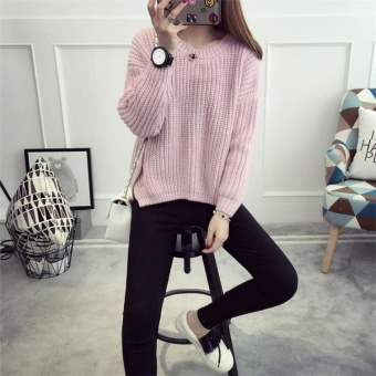 Autumn&Winter Korean Style Women's Knitted Loose Long Sleeved Pullover Sweater Pink - intl - 3
