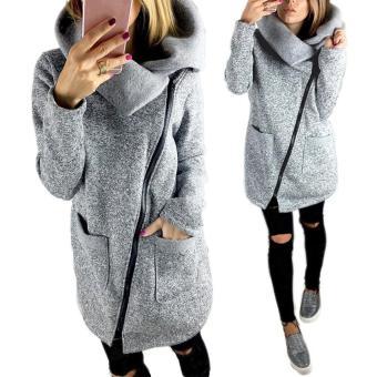 Autun Winter Clothes War Fleece Jacket Slant Zipper Collared Coat - 2