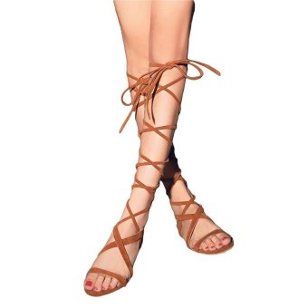 B-Panda Leather Tassel Gladiator Sandals Women Girls Knee High Summer Boots Shan - intl