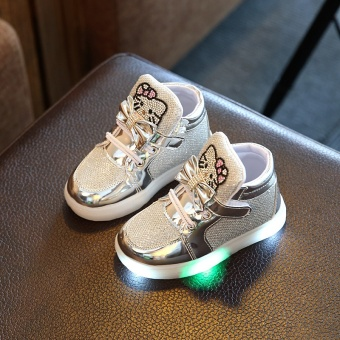 Babies' LED Shoes Kids' Sports Shoes LED Light Toddler Sneakers(Silver) - intl