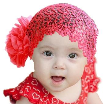 Baby Girl Infant Lace Flower Headwear Headband Decoration Red