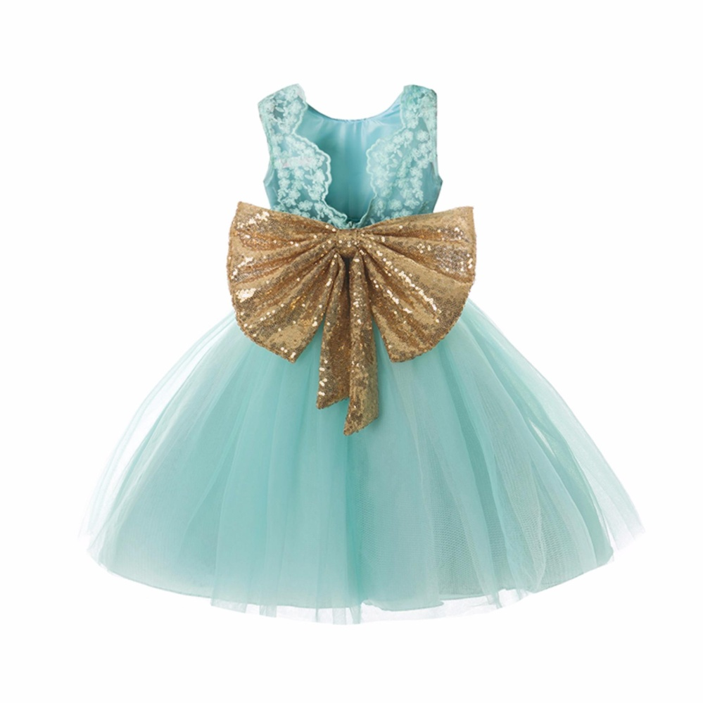 Philippines | Baby Kids Lace Dress Mint Green Sequins Bow Sash Baby ...
