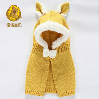 Baby men and women winter wind cloak knitted hat baby hat (Are code + Yellow)