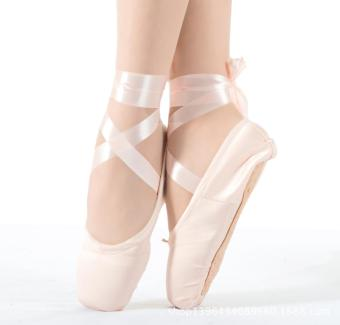 Ballet Shoes Ladies Girl Satin Dance Shoes Canvas Hard Soles Nail Practice Shoes - Pink - intl