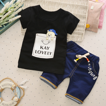 Baobao boy's summer New style anniversery shorts T-shirt (Bucket bear black)