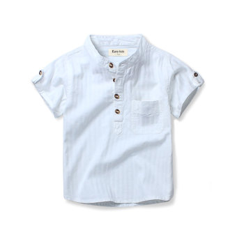 Baobao boy's white shirt children's short sleeved shirt