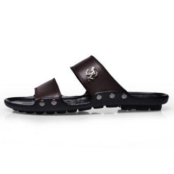 Beach Sandals Men Shoes Summer Slippers Men PU LeatherSandals-Brown - intl - 2