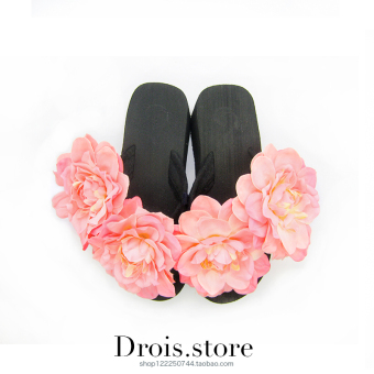Beach semi-high heeled New Style High-heeled flower slippers flip-flops