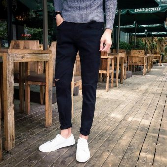 Beam foot and cultivate one's morality ripped jeans for men - intl