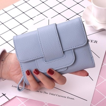 BEAUTY Women Hasp Wallet Fashion Tri-Folds Clutch For Girls CoinPurse Card Holders Female Money Bag-blue - intl