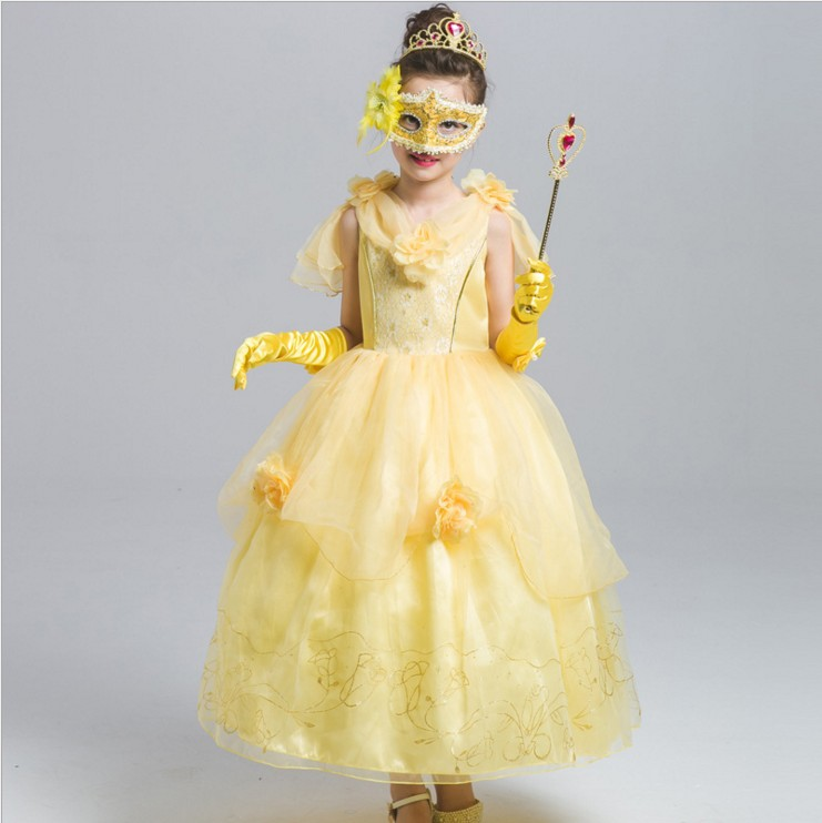 belle halloween costumes tutu dress princess dress dress sleeves mask to send crown